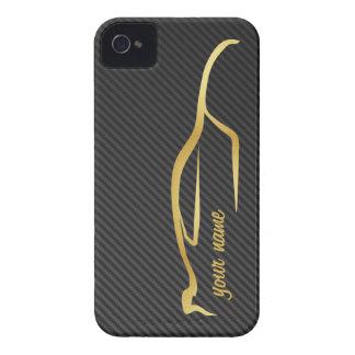 """""""ajoutez votre"""" logo nommé de silhouette d'or coque iPhone 4"""