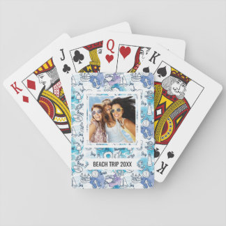 Ajoutez votre motif | nautique nommé d'aquarelles cartes à jouer