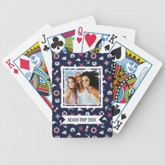 Ajoutez votre motif | nautique nommé de mer jeu de cartes