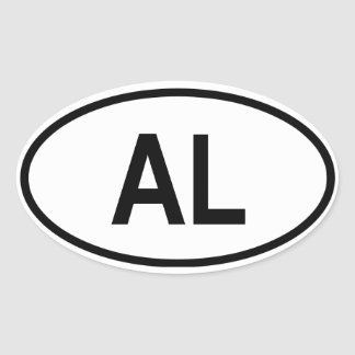 """Albanië """"AL """" Ovale Sticker"""