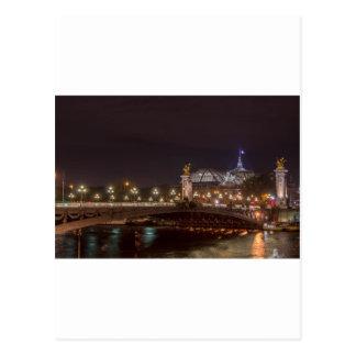 Alexander bridge and grand palais at night Paris Carte Postale