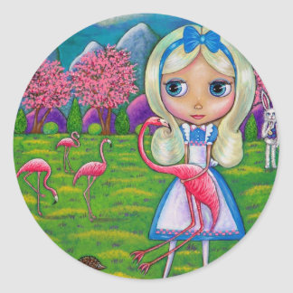 Alice au pays des merveilles et l'autocollant de sticker rond