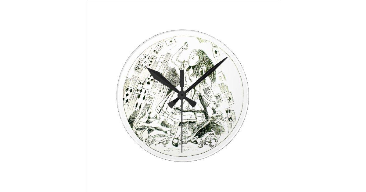 alice au pays des merveilles horloge ronde zazzle. Black Bedroom Furniture Sets. Home Design Ideas