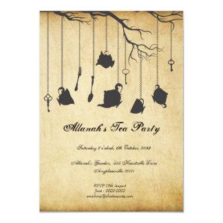 Alice au thé d'anniversaire d'Unbirthday du pays Carton D'invitation 12,7 Cm X 17,78 Cm