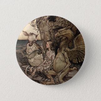 Alice avec le Gryphon et la fausse tortue Badge Rond 5 Cm