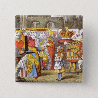 Alice dans la cour 1 de la Reine Badge Carré 5 Cm