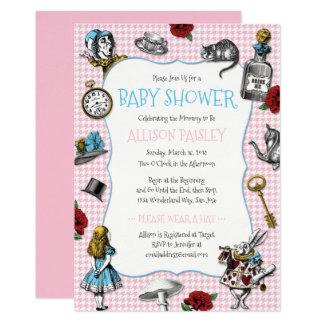 alice dans le baby shower de pied de poule du pays carton d 39 invitation