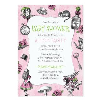 alice dans le baby shower de rose du pays des carton d 39 invitation 12 7