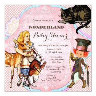 alice dans le baby shower du pays des merveilles carton d 39 invitation