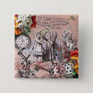Alice dans le chapelier et le lapin du pays des badge carré 5 cm