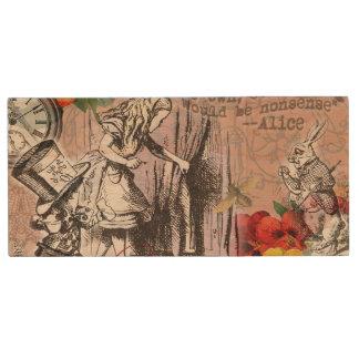 Alice dans le chapelier et le lapin du pays des clé USB 2.0 en bois