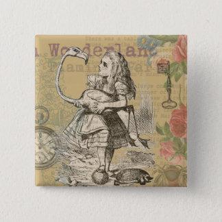 Alice dans le cru de flamant du pays des badge carré 5 cm