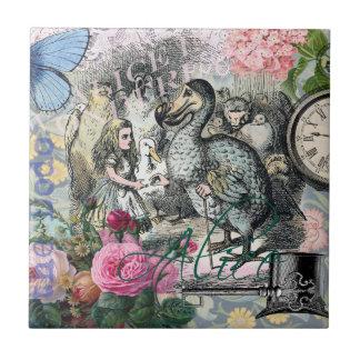 Alice en collage vintage de dronte du pays des petit carreau carré