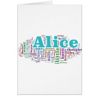Alice en nuage de mot du pays des merveilles carte