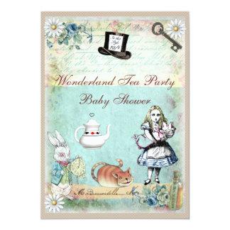 alice et le baby shower du pays des merveilles de carton d 39 invitation