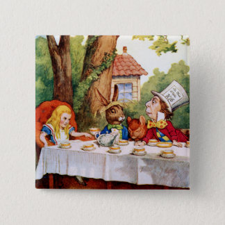 Alice et le thé du chapelier fou au pays des badge carré 5 cm