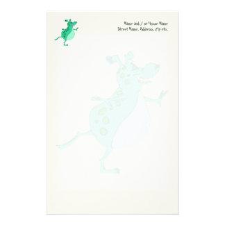 Alien vert sautant mignon papier à lettre personnalisé