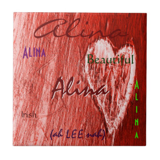 Alina Name Irish Meaning with Red Heart Ceramic Tile