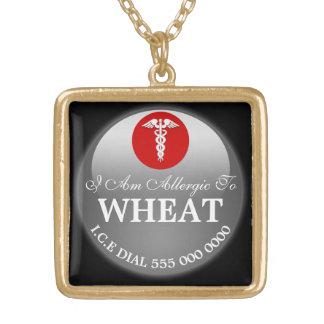 Allergie de blé que son rouge noir | personnalisez collier plaqué or