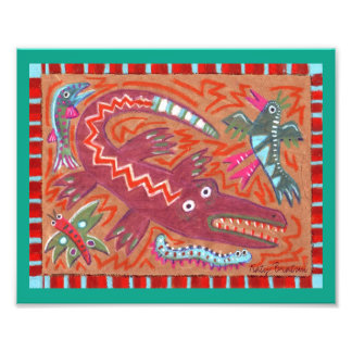 Alligator abstrait d'art populaire de zigzag photos sur toile