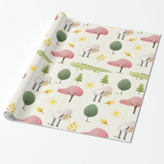Alligator de vert de moutons et enfants mignons papier cadeau