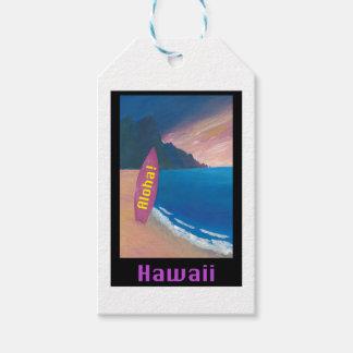 Aloha affiche de surfer d'Hawaï rétro Étiquettes-cadeau