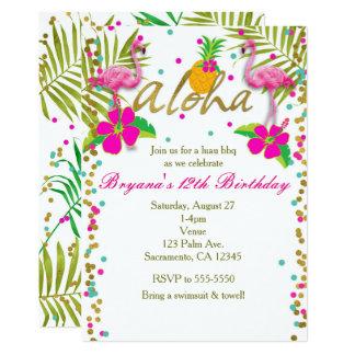Aloha fête d'anniversaire tropicale de flamant de carton d'invitation  12,7 cm x 17,78 cm