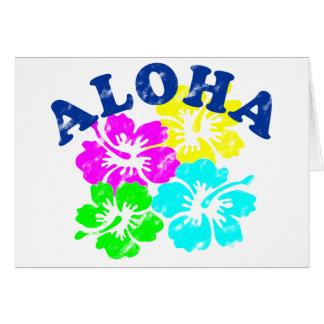 Aloha fleurs hawaïennes colorées de carte postale