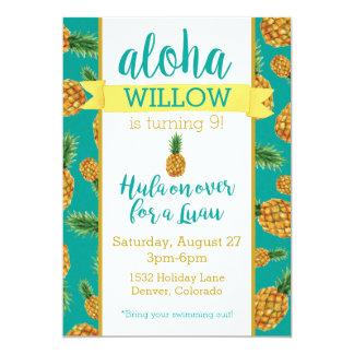 Aloha invitation d'anniversaire de Luau d'ananas