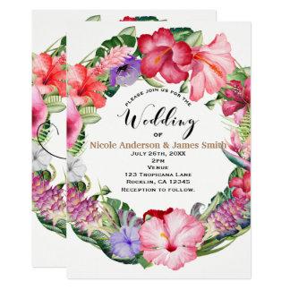 Aloha noce florale tropicale de Luau de guirlande Carton D'invitation 12,7 Cm X 17,78 Cm