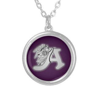 Alphabet d'ange un monogramme initial pendentif rond