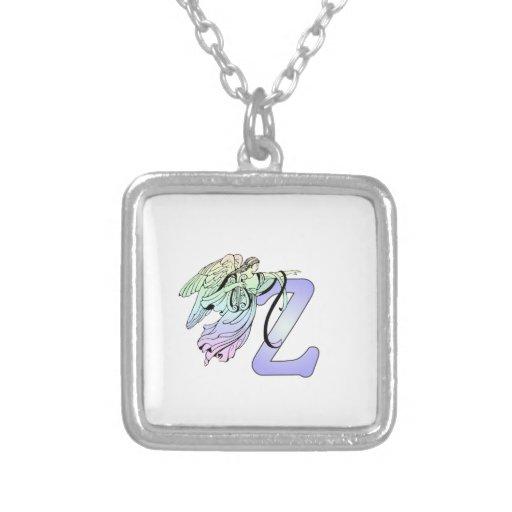 Alphabet initial d'ange gardien de monogramme de l colliers personnalisés