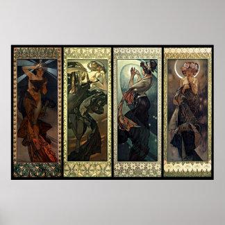 Alphonse Mucha la lune et les étoiles Poster
