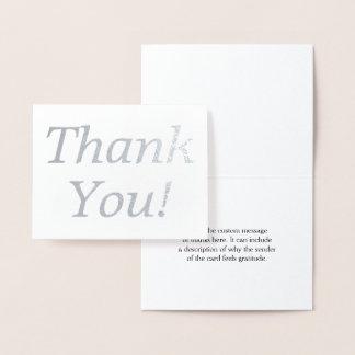 "Aluminium argenté minimal ""Merci !"" Carte"