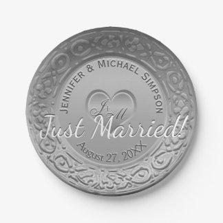 Aluminium de Faux d'argent de réception de mariage Assiettes En Papier