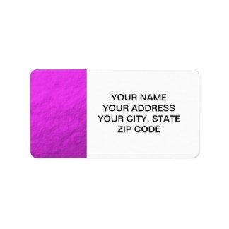 Aluminium rose imprimé étiquettes d'adresse