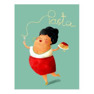 Amant italien de pâtes de spaghetti carte postale