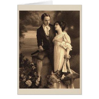 Amants victoriens anniversaire ou carte de mariage