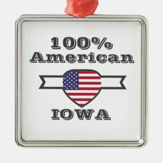Américain de 100%, Iowa Ornement Carré Argenté