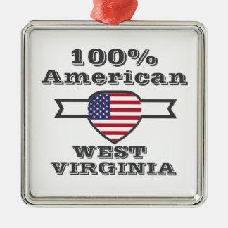 Américain de 100%, la Virginie Occidentale Ornement Carré Argenté