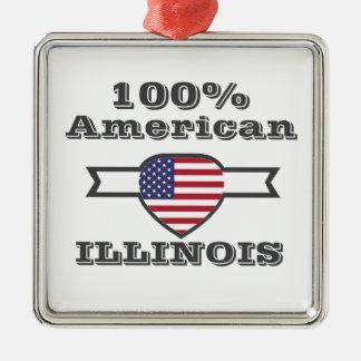 Américain de 100%, l'Illinois Ornement Carré Argenté