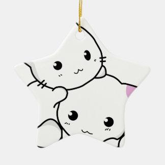 Amis mignons de chat ornement étoile en céramique
