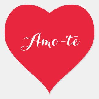 AMO-te je t'aime dans l'autocollant rouge Sticker Cœur