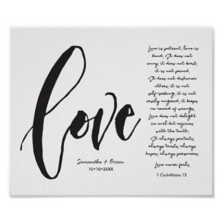 Amour, 1 cor. 13, nom de couples, manuscrit poster