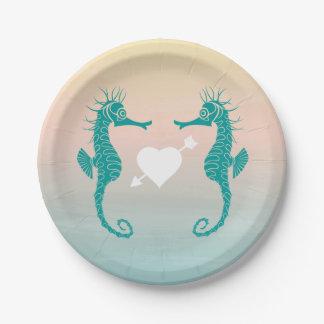 Amour bleu de mariage de plage de pêche assiettes en papier