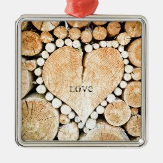 Amour, coeur, romance, mosaïque en bois ornement carré argenté