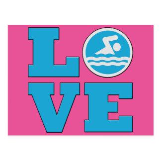 Amour de bain pour les nageurs ou les entraîneurs carte postale