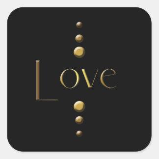 Amour de bloc d'or de 3 points et arrière - plan sticker carré