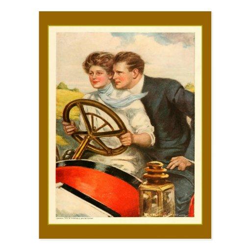 Amour de ` et publicité vintage de six cylindres' carte postale