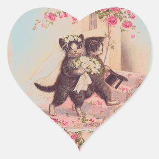 Amour de jeunes mariés de chats de mariage sticker cœur